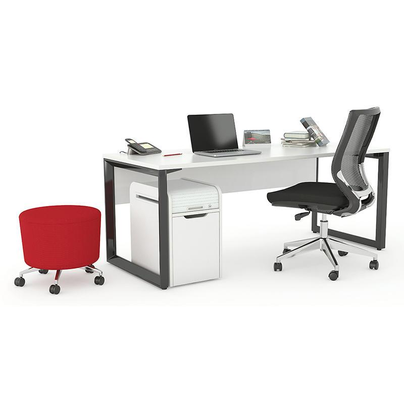 Simple design Metal Frame White Modern  I Shaped Office Desk  for 1 seater-1