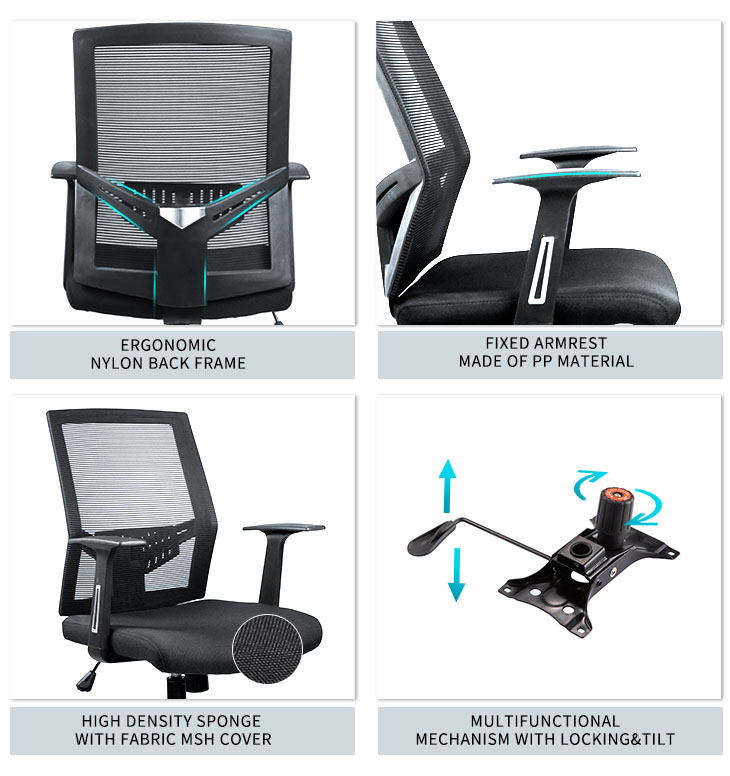 Mesh Mid Back Office Task Desk Office Chair HL-319-6
