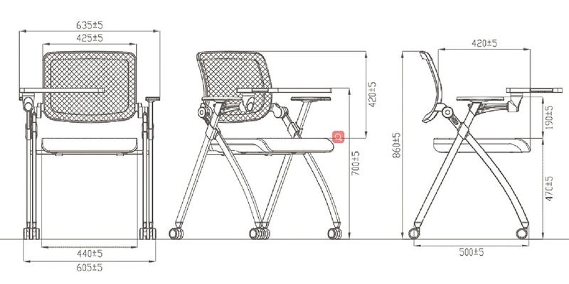 Foldable Office Chair Student Training Chair-5
