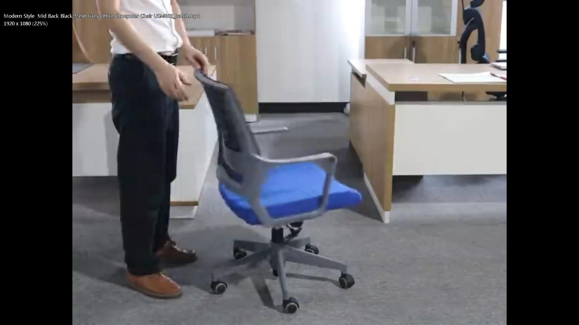Modern Style  Mid Back Black Mesh Grey Office Computer Chair USM001