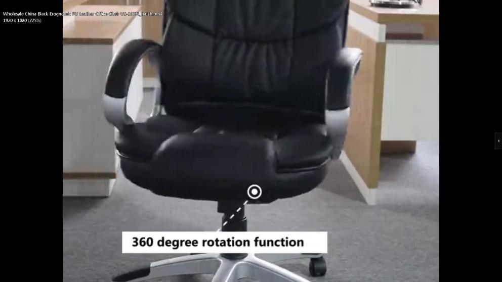 Wholesale China Black Erognomic PU Leather Office Chair US-1007L