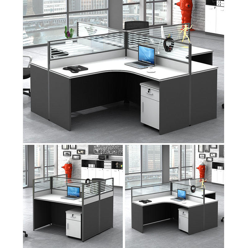 Modern Design Wooden Office Workstation for 4 Person Seaters Office Modular Cubicles Workstation FK-H001