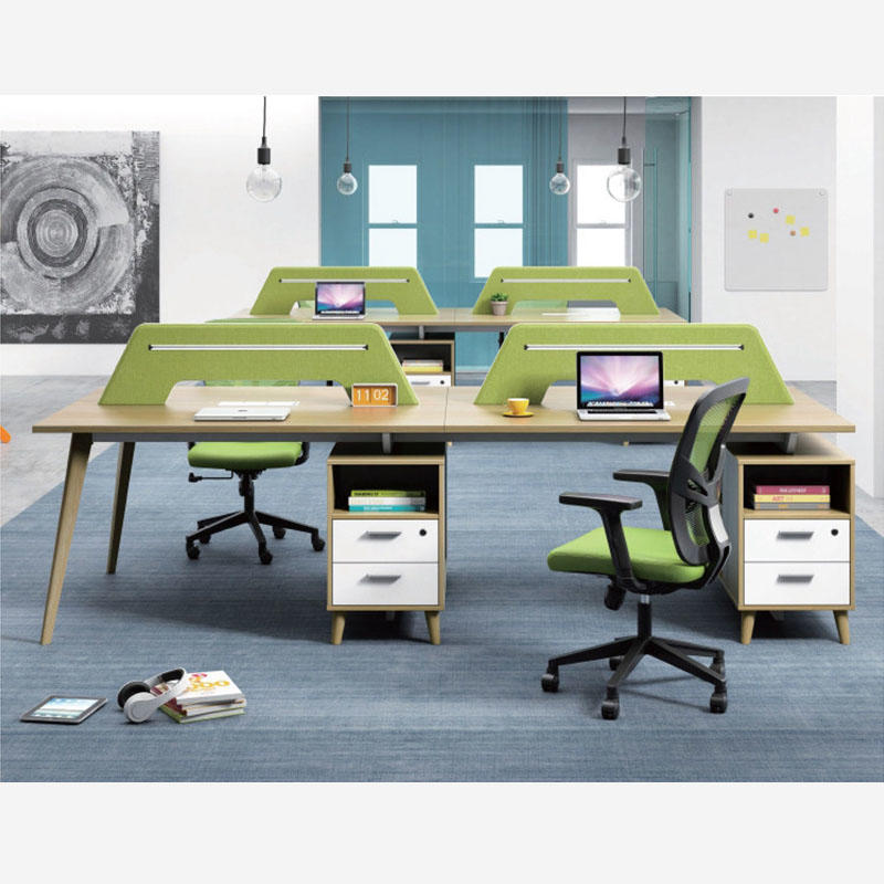 Office 4 Seater Staff Computer Workstation Office Wooden Partition Workstation  FK1009