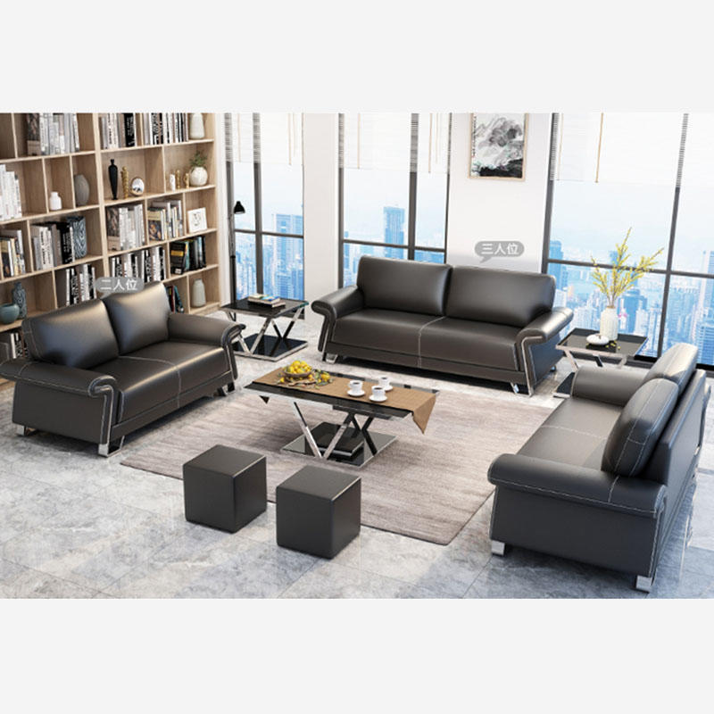 High Quality Metal Frame Leather Black Office Sofa Modern Design Synthetic Leather Sectional Office Sofa