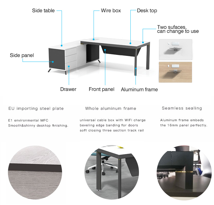 High End Office Executive Table Boss Table Design Home Office Desk Executive Office Desk With Return Side Cabinet  ET-1680-3-5