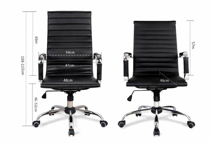 Middle Back Ripple Black PU Leather Office Chair for Office Use-5