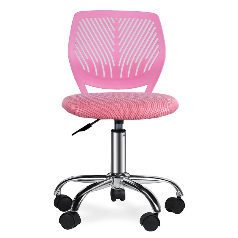 Armless PP Frame Pink Mesh Office Chair for Children