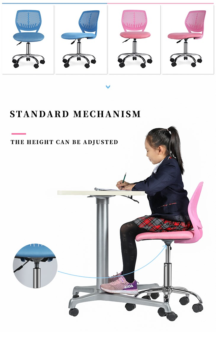Armless PP Frame Pink Mesh Office Chair for Children-4
