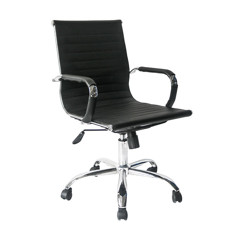 Middle Back Ripple Black PU Leather Office Chair for Office Use