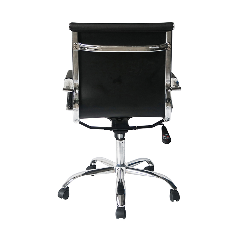 Middle Back Ripple Black PU Leather Office Chair for Office Use-4