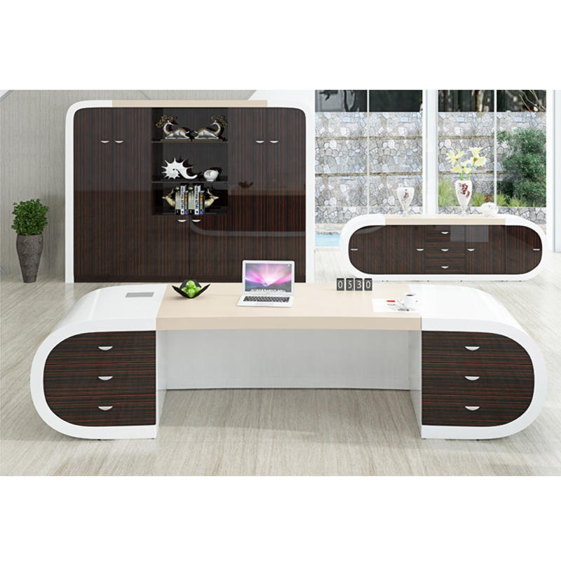 Luxury Office Furniture White and Brown Modern Executive Manager Office Desk for Project