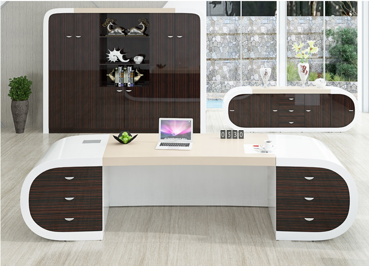 Luxury Office Furniture White and Brown Modern Executive Manager Office Desk for Project-4