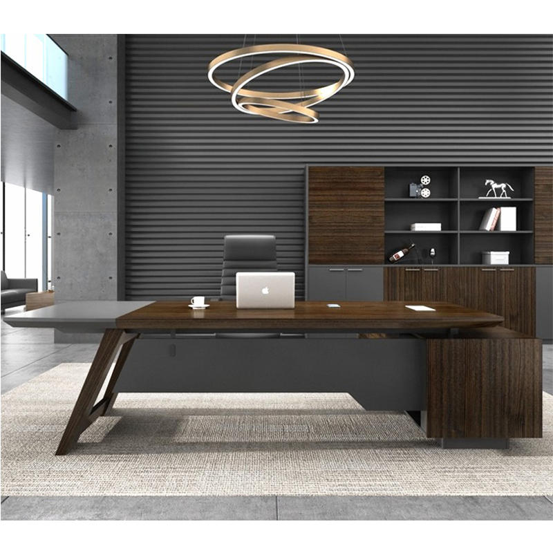 Frank Tech Modern Office Furniture Brown L Shaped MDF Executive Office Desk