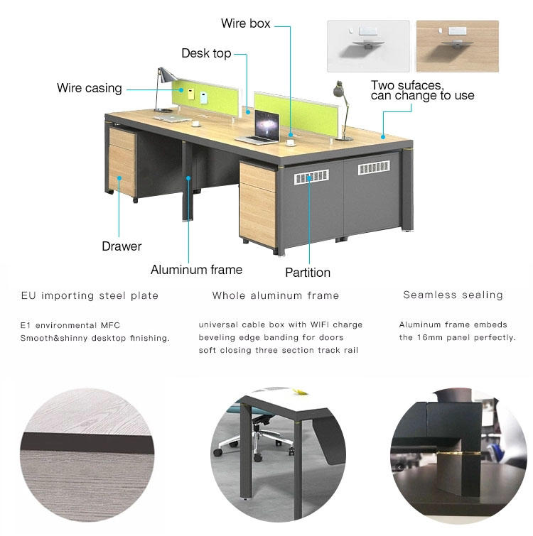 Commercial Office Furniture Office Workstation Office Staff Desk Office Partitions for 4 People EW-1260-4A-1