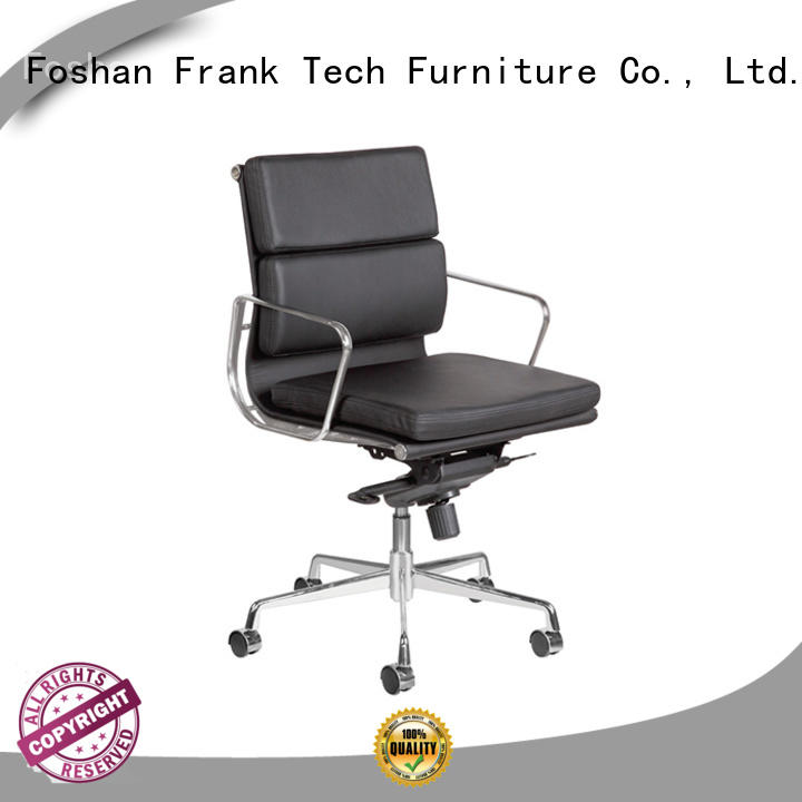 Frank Tech black leather desk chair by Chinese manufaturer