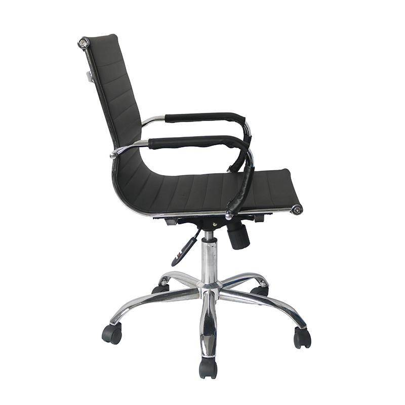 Middle Back Ripple Black PU Leather Office Chair for Office Use-3