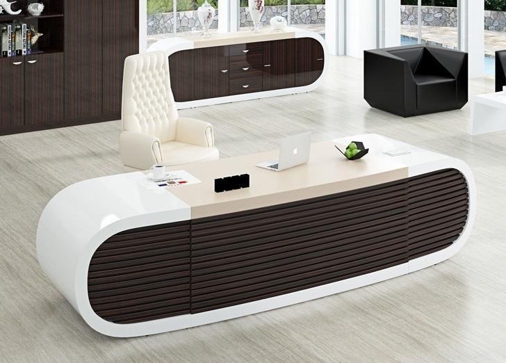 Luxury Office Furniture White and Brown Modern Executive Manager Office Desk for Project-3