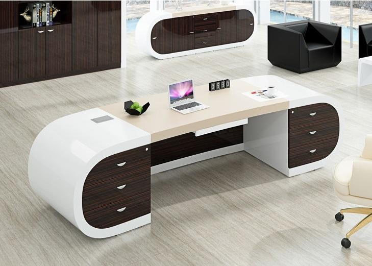 Luxury Office Furniture White and Brown Modern Executive Manager Office Desk for Project-1