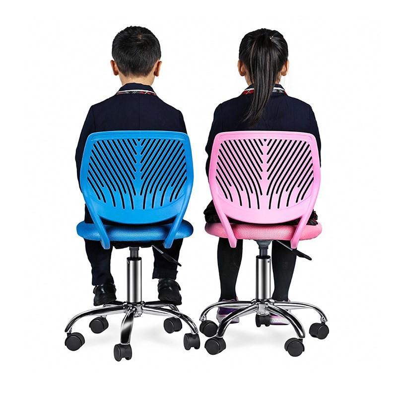 Armless PP Frame Pink Mesh Office Chair for Children-1