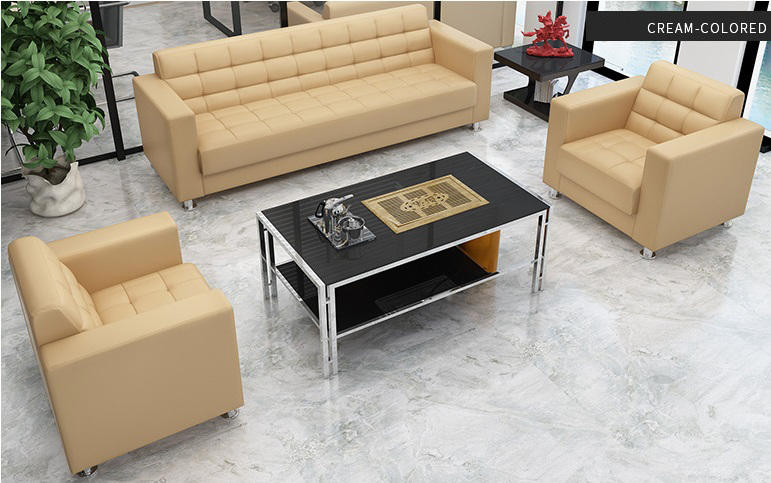 Frank Tech Modern Black Office Couch Sectional Office Leather Sofa Set for Office Space-3