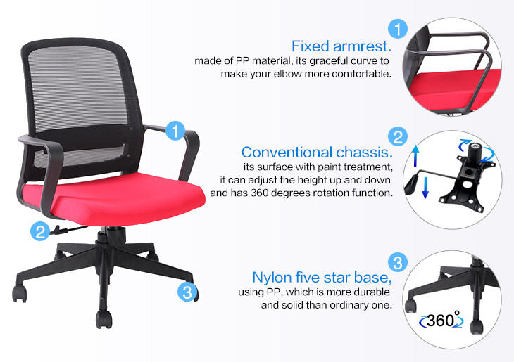 Fixed PP Armrest Office Clerk Computer Mesh Chair for Home and Office-3