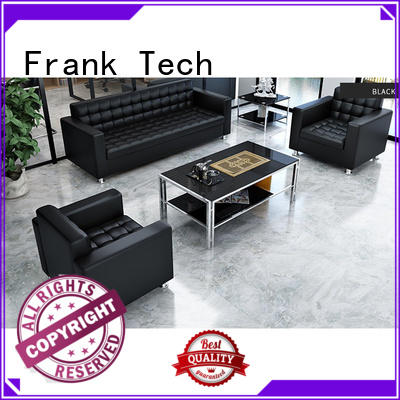 Frank Tech Modern Black Office Couch Sectional Office Leather Sofa Set for Office Space