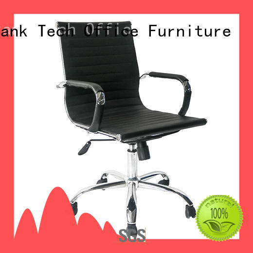 Frank Tech black leather swivel chair for wholesale