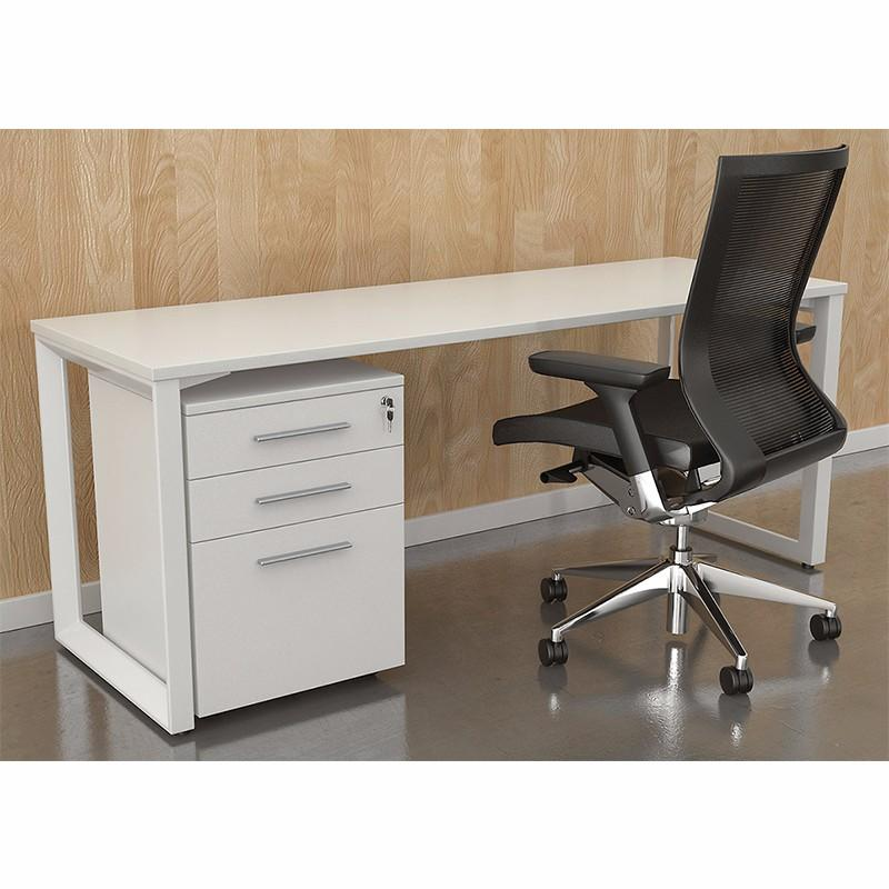 Simple design Metal Frame White Modern  I Shaped Office Desk  for 1 seater-3