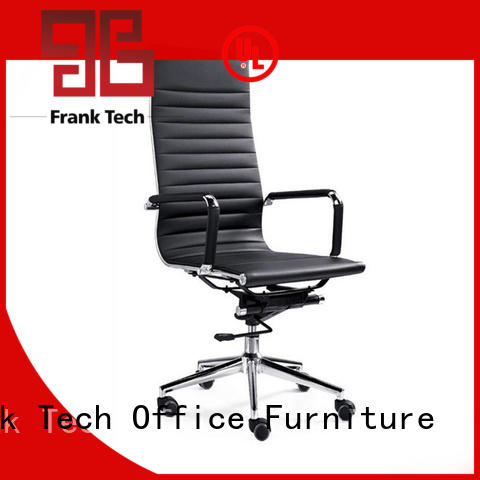 black leather office chair brown back Frank Tech Brand