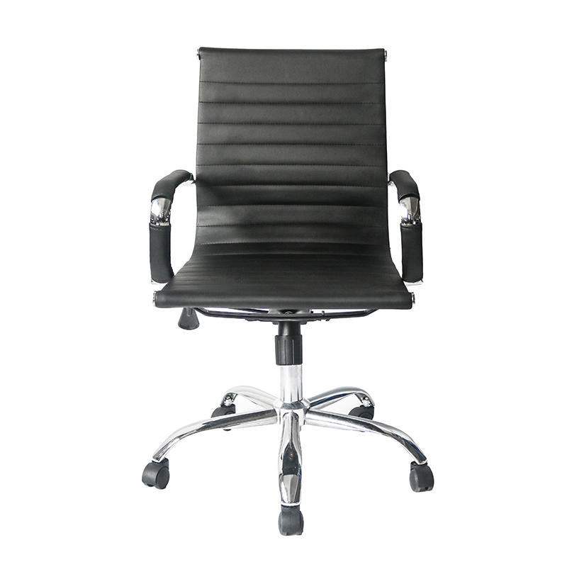 Middle Back Ripple Black PU Leather Office Chair for Office Use-2