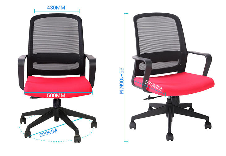 Fixed PP Armrest Office Clerk Computer Mesh Chair for Home and Office-2